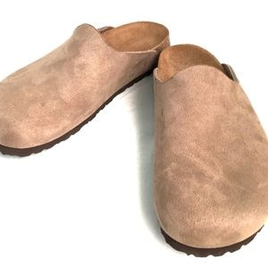 Tatami by Birkenstock Suede Slip On Taupe Clogs